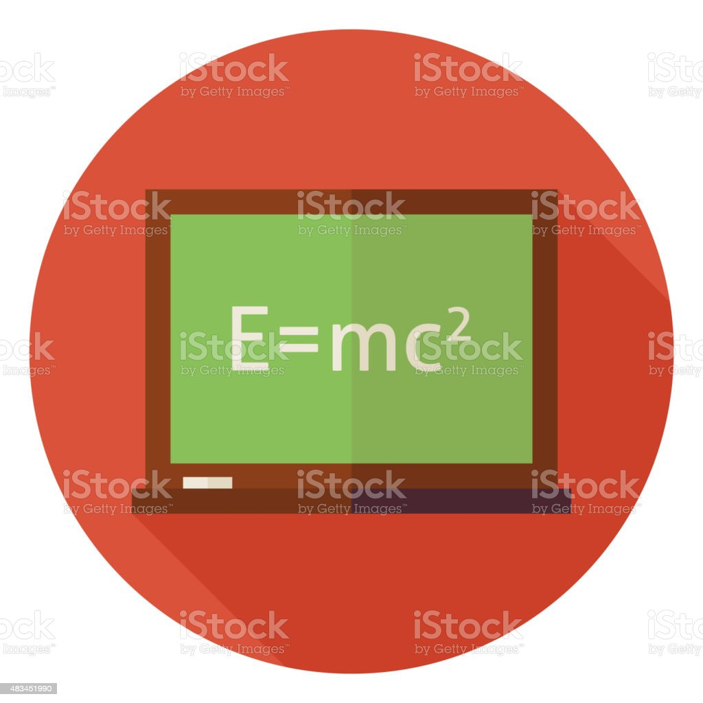Flat Science and Education Chalkboard Circle Icon with Long Shad vector art illustration