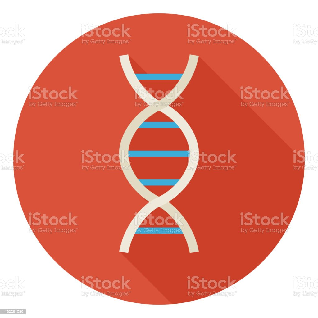 Flat Science and Medicine DNA Circle Icon with Long Shadow vector art illustration