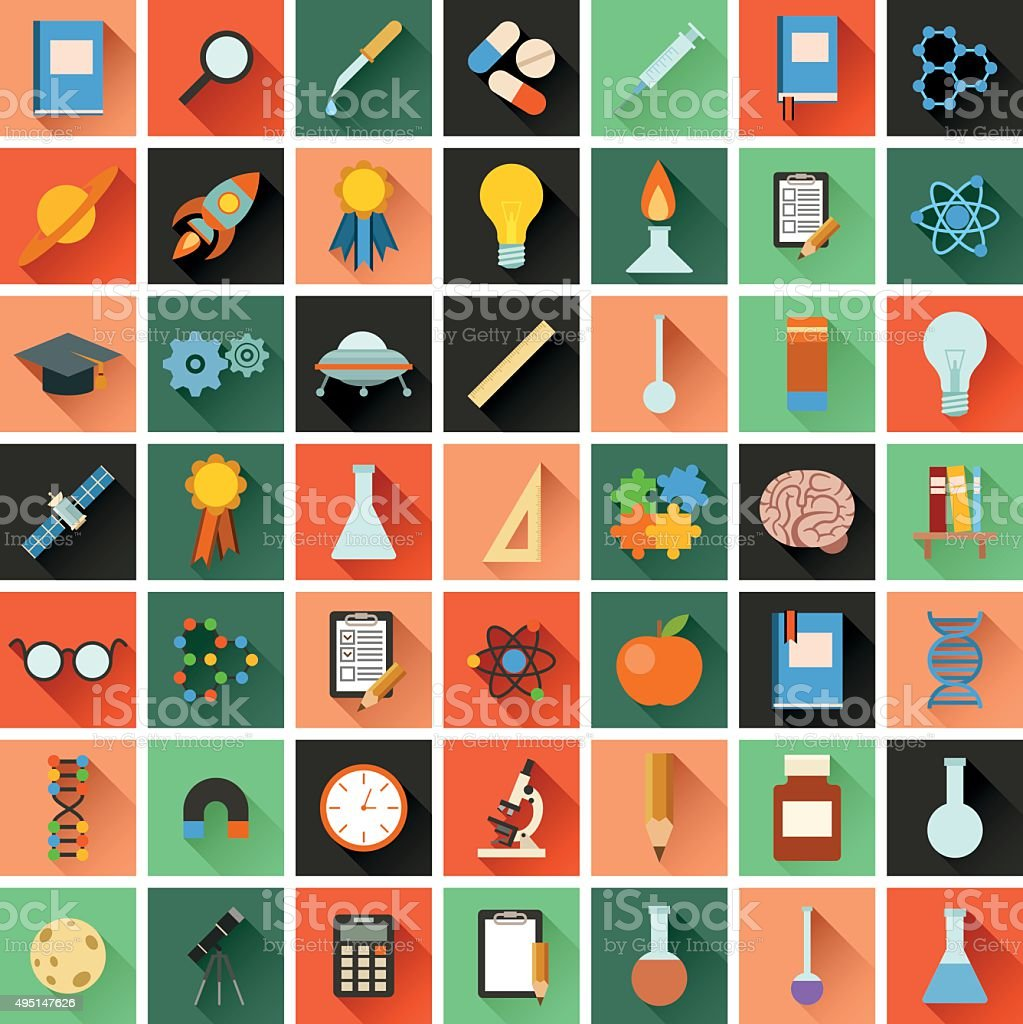 Flat science icons vector art illustration