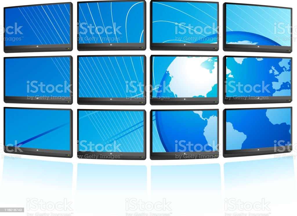 Flat screen displays with globe Background royalty-free stock vector art