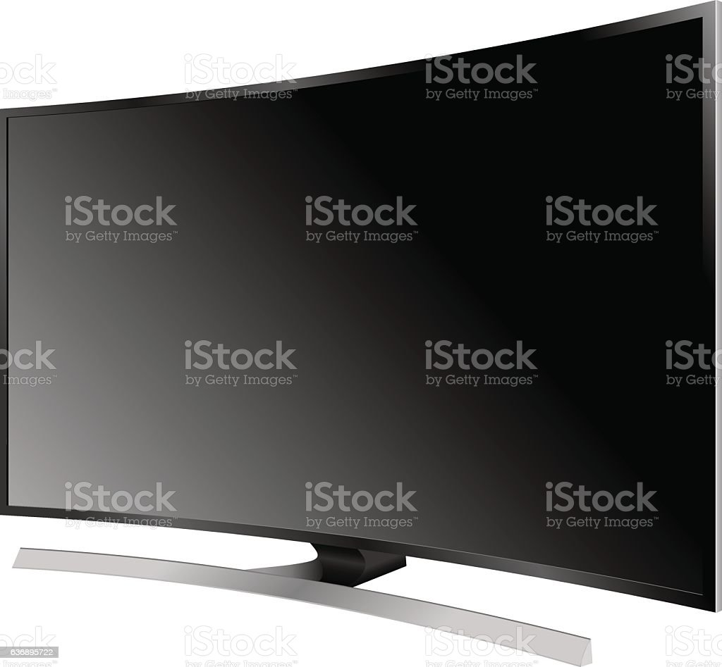 TV flat screen lcd plasma realistic vector illustration. vector art illustration