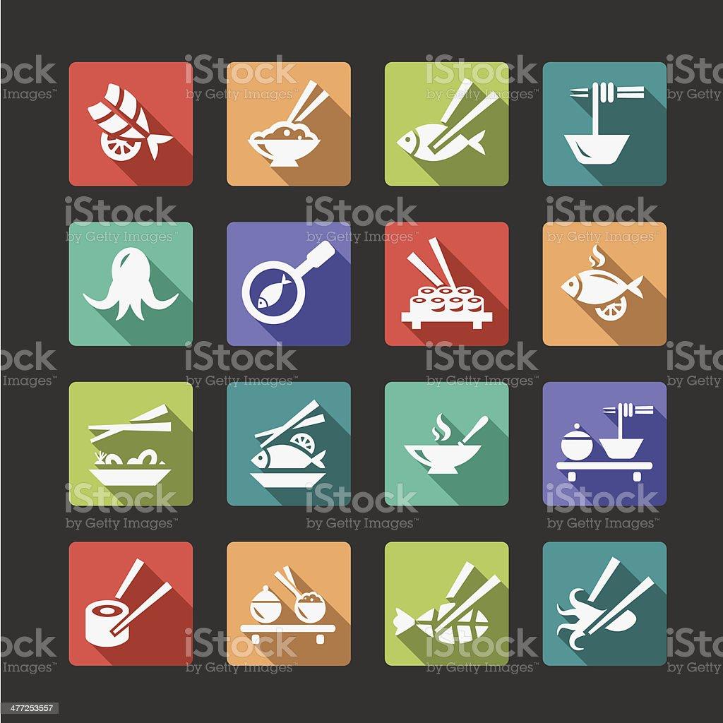flat seafood icons vector art illustration
