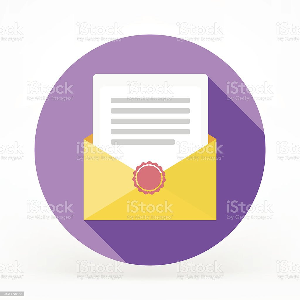 Flat Sealed Mail Icon vector art illustration