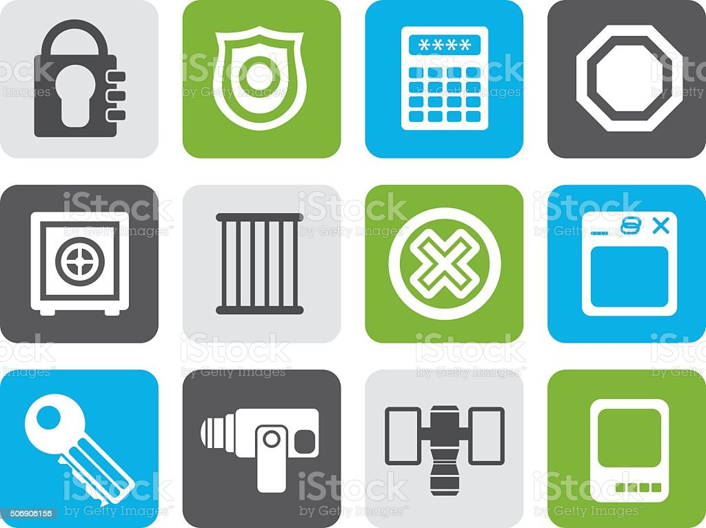 Flat Security and Business icons vector art illustration