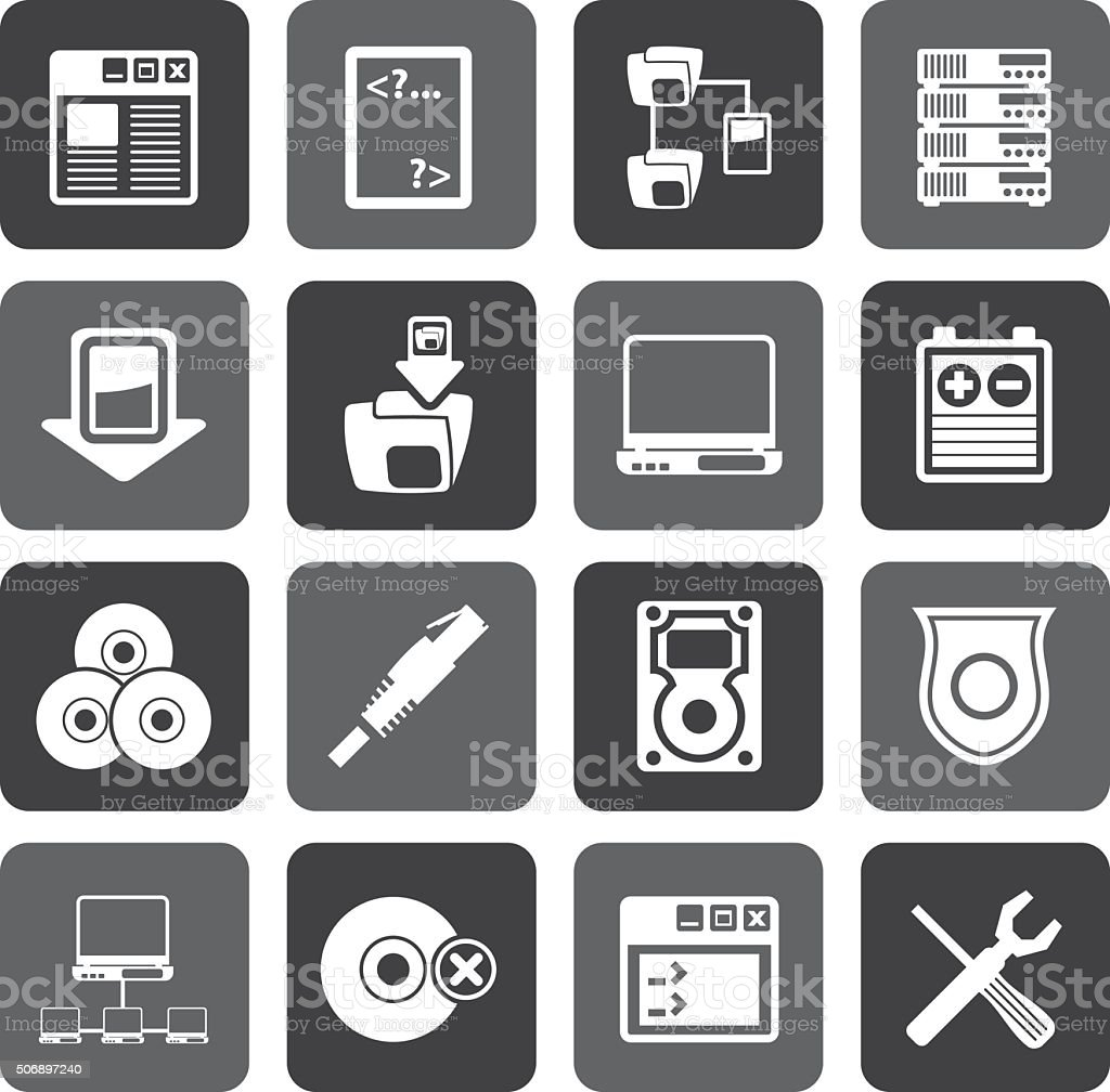 Flat Server Side Computer icons vector art illustration