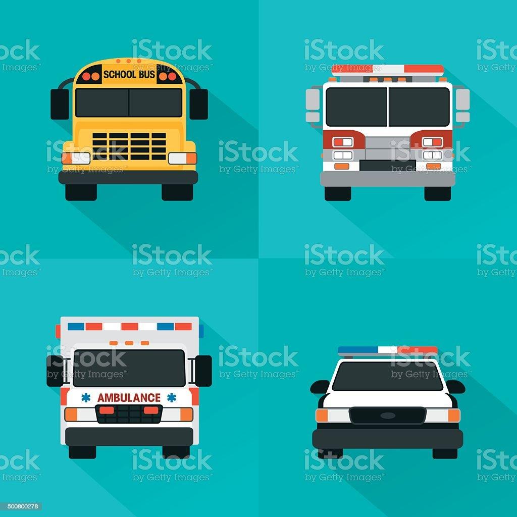 Flat service cars set. Police, ambulance, fire truck, school bus vector art illustration