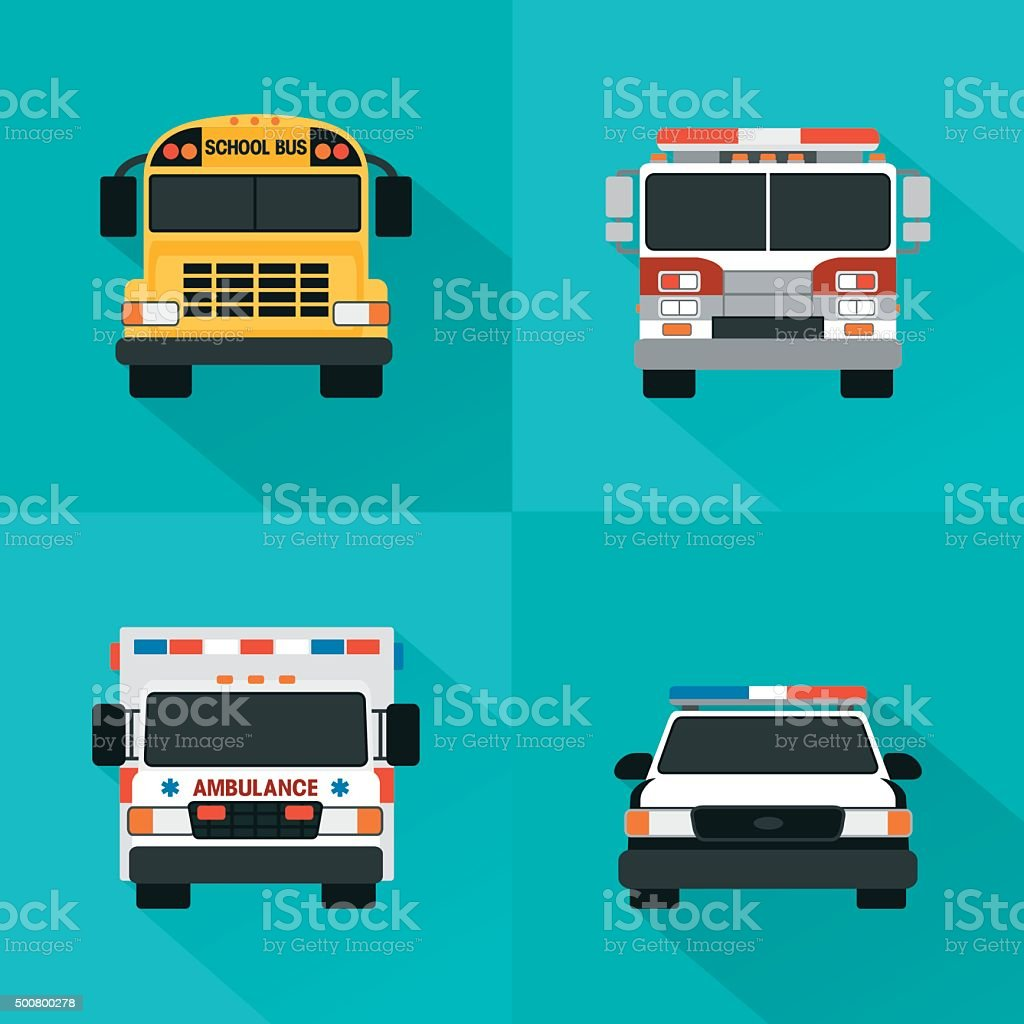 Flat service cars set. Police, ambulance, fire truck, school bus vector art illustration