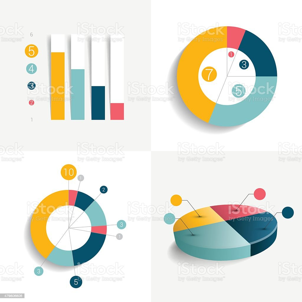 Flat set of charts and brochure elements. Simply color editable. vector art illustration