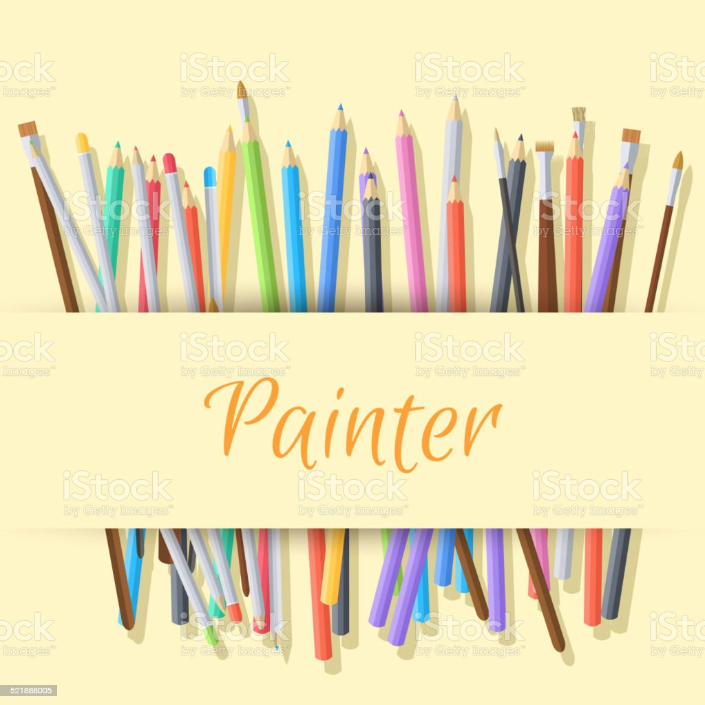 Flat set of colored pencils with shadow on the background vector art illustration