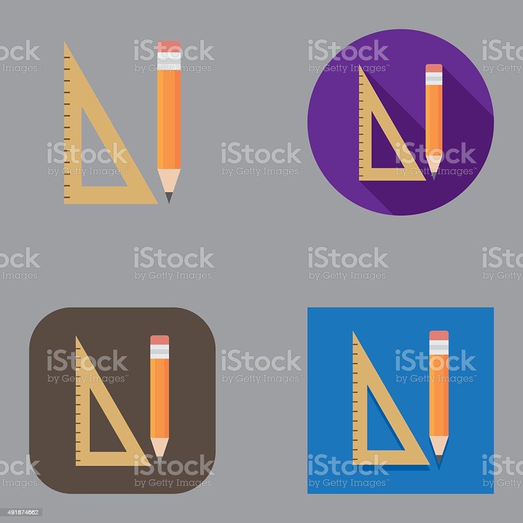 Flat Set Square and Pencil icons | Kalaful series vector art illustration