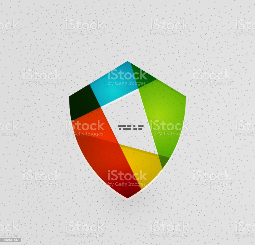 Flat shield background vector art illustration