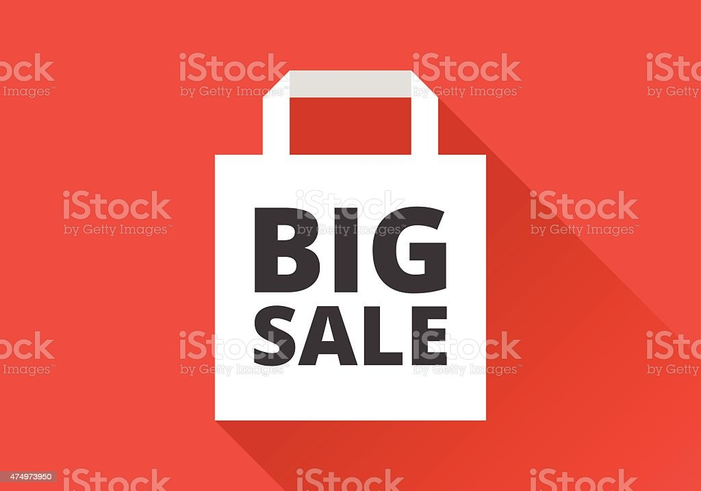 Flat Shopping Bag - Big Sale vector art illustration