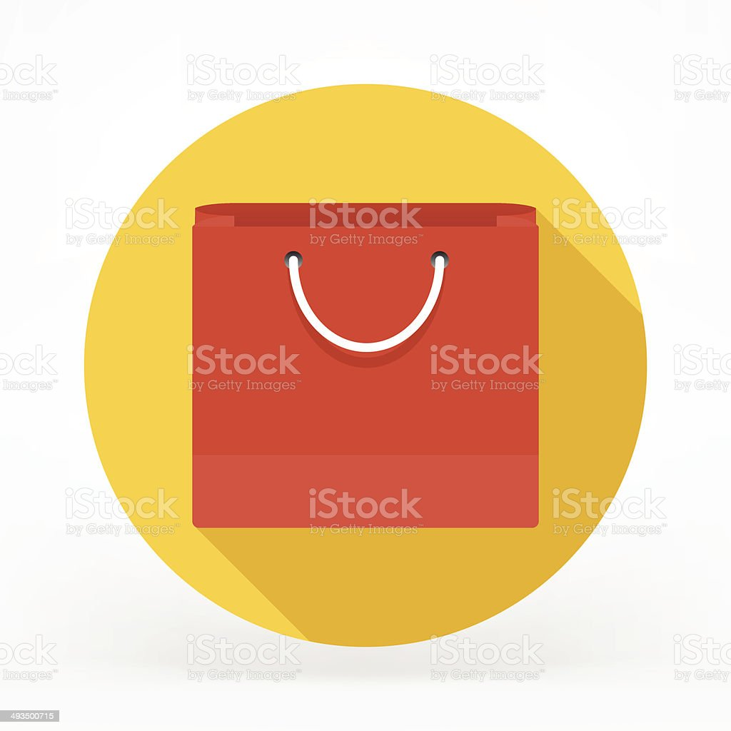 Flat Shopping Bag Icon vector art illustration