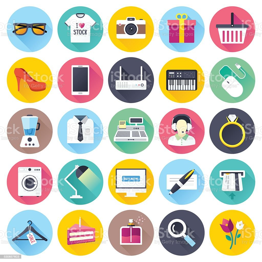 Flat Shopping Icons vector art illustration