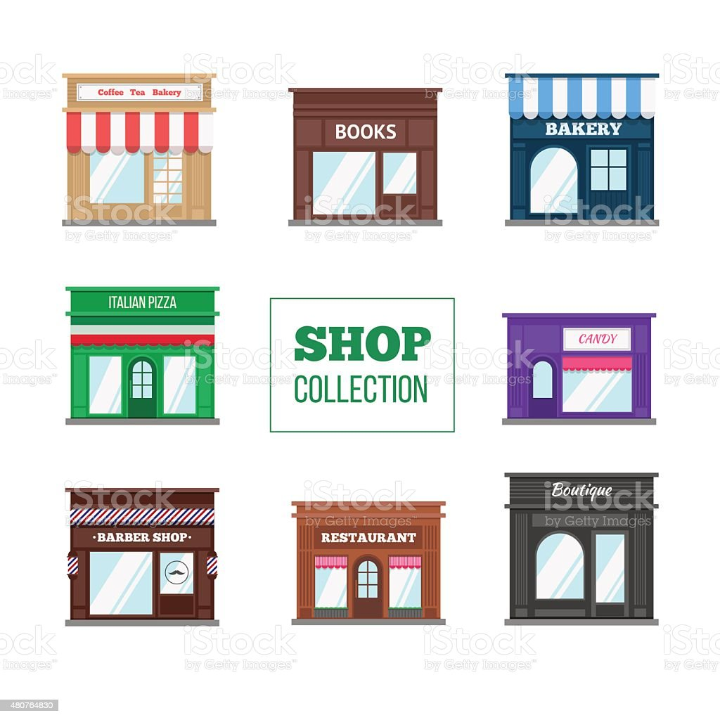 Flat shops and stores collection vector art illustration