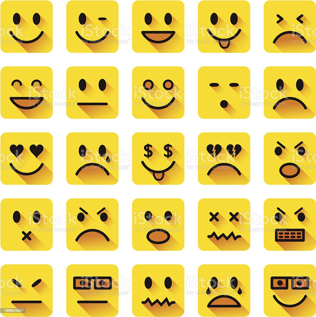 Flat smiley icons vector art illustration
