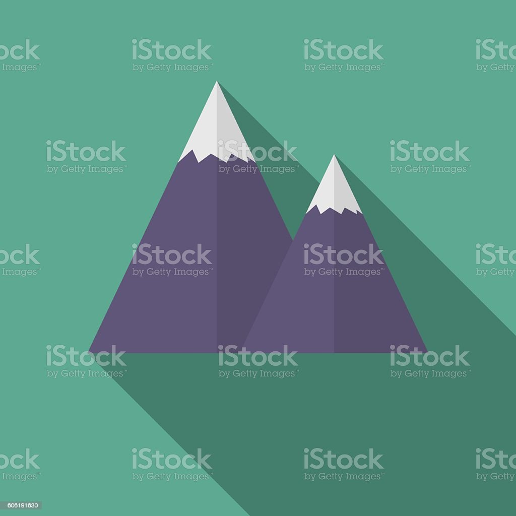 Flat snow caped mountain icon, with long shadow vector illustration vector art illustration