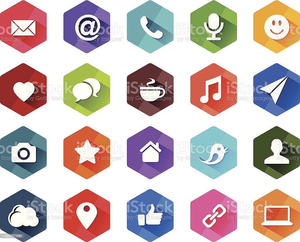 Flat Social Media Icons for Light Background royalty-free stock vector art