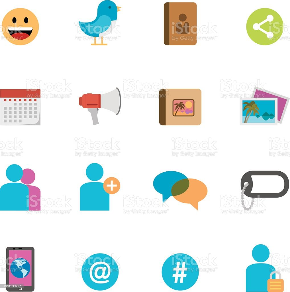 Flat Social Media icons | Simpletoon series vector art illustration