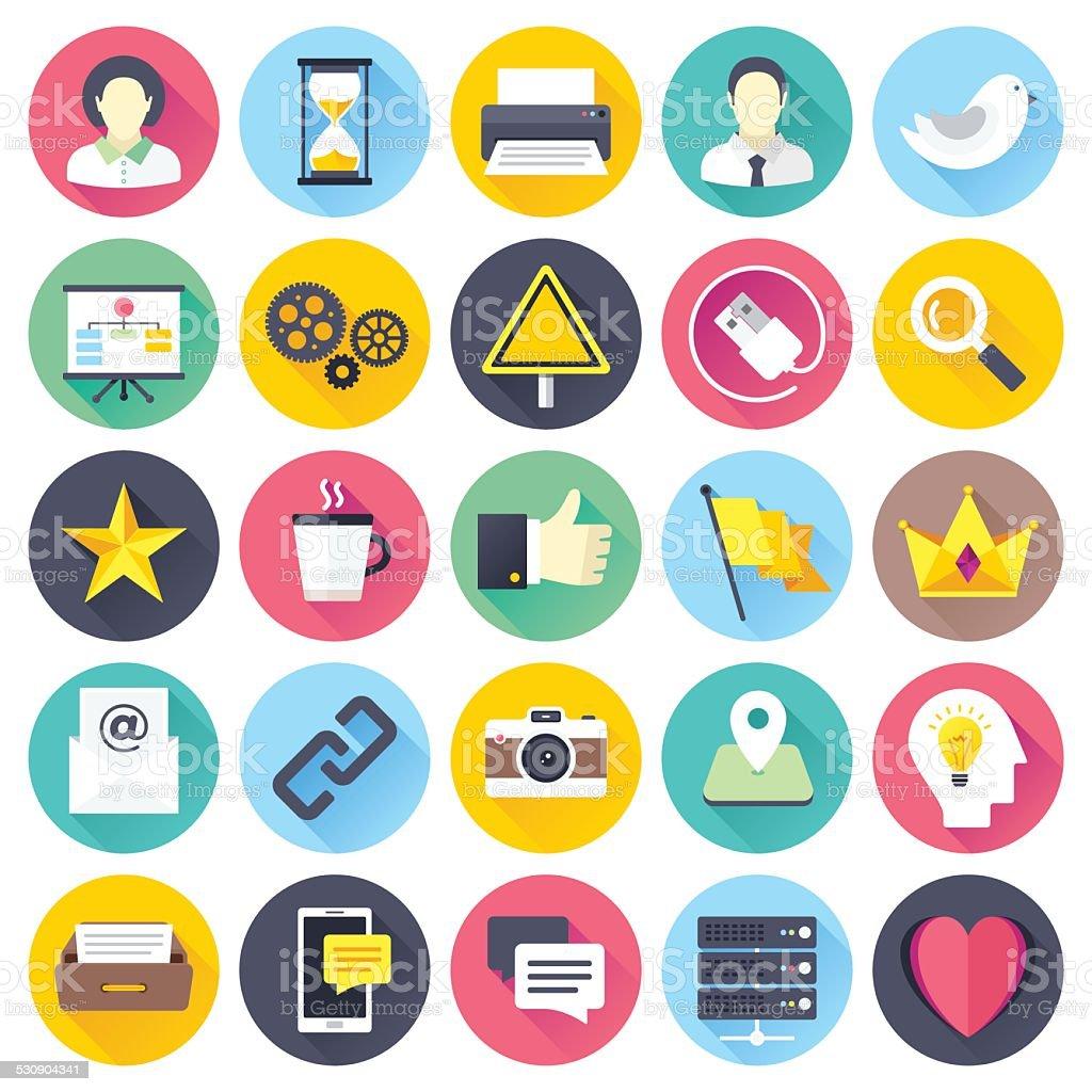 Flat Social Media Icons vector art illustration