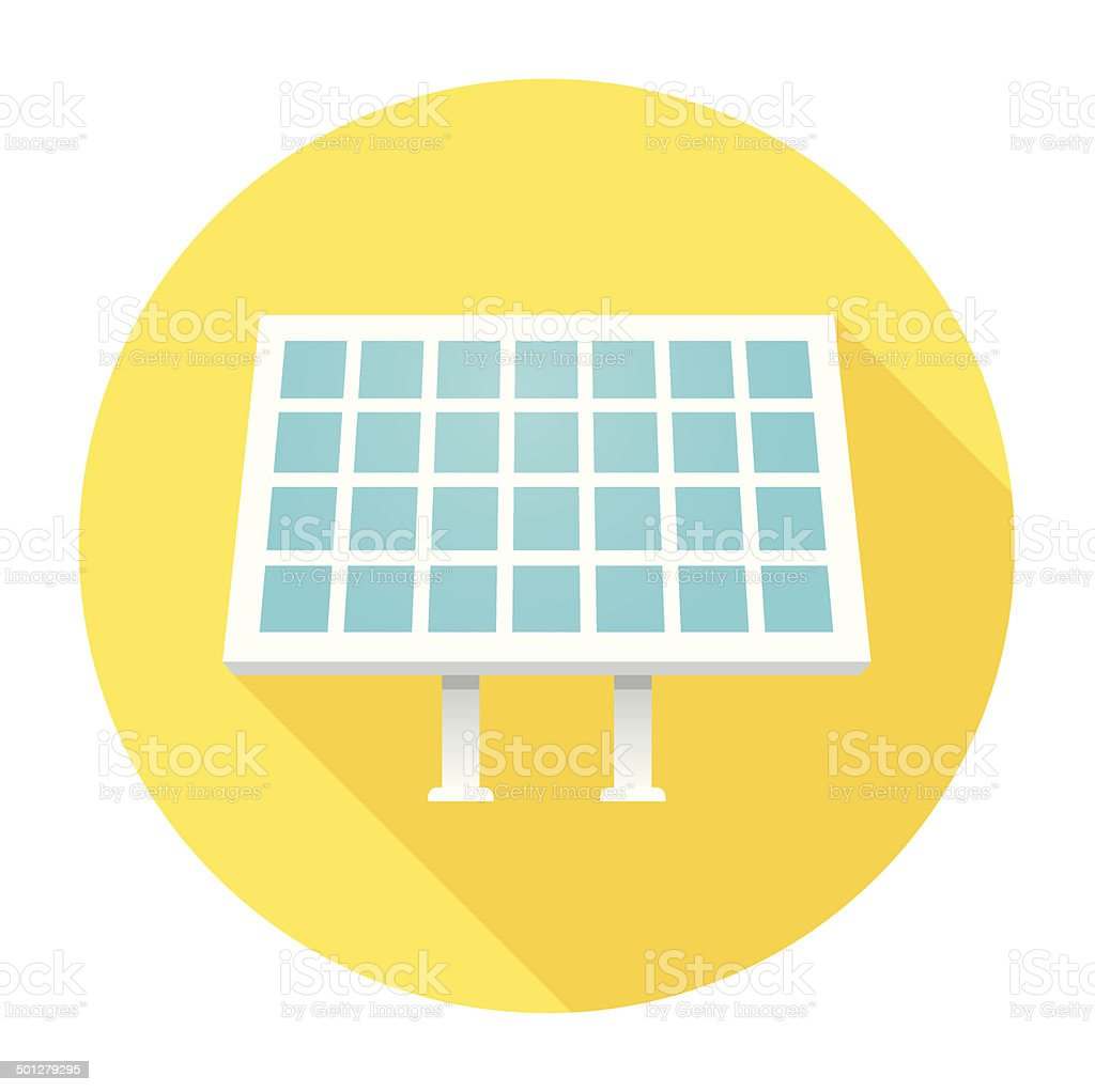 Flat Solar Panel Icon vector art illustration