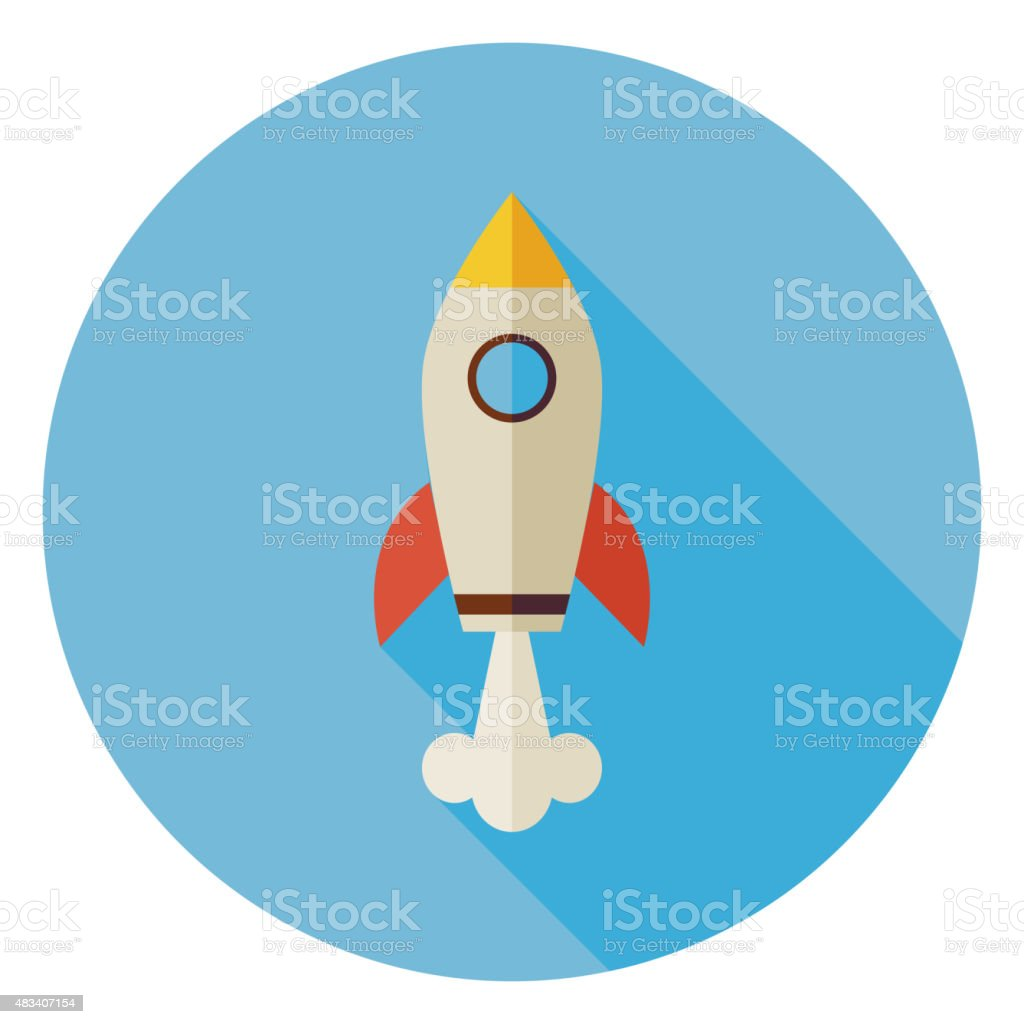 Flat Space Shuttle Rocket Circle Icon with Long Shadow vector art illustration