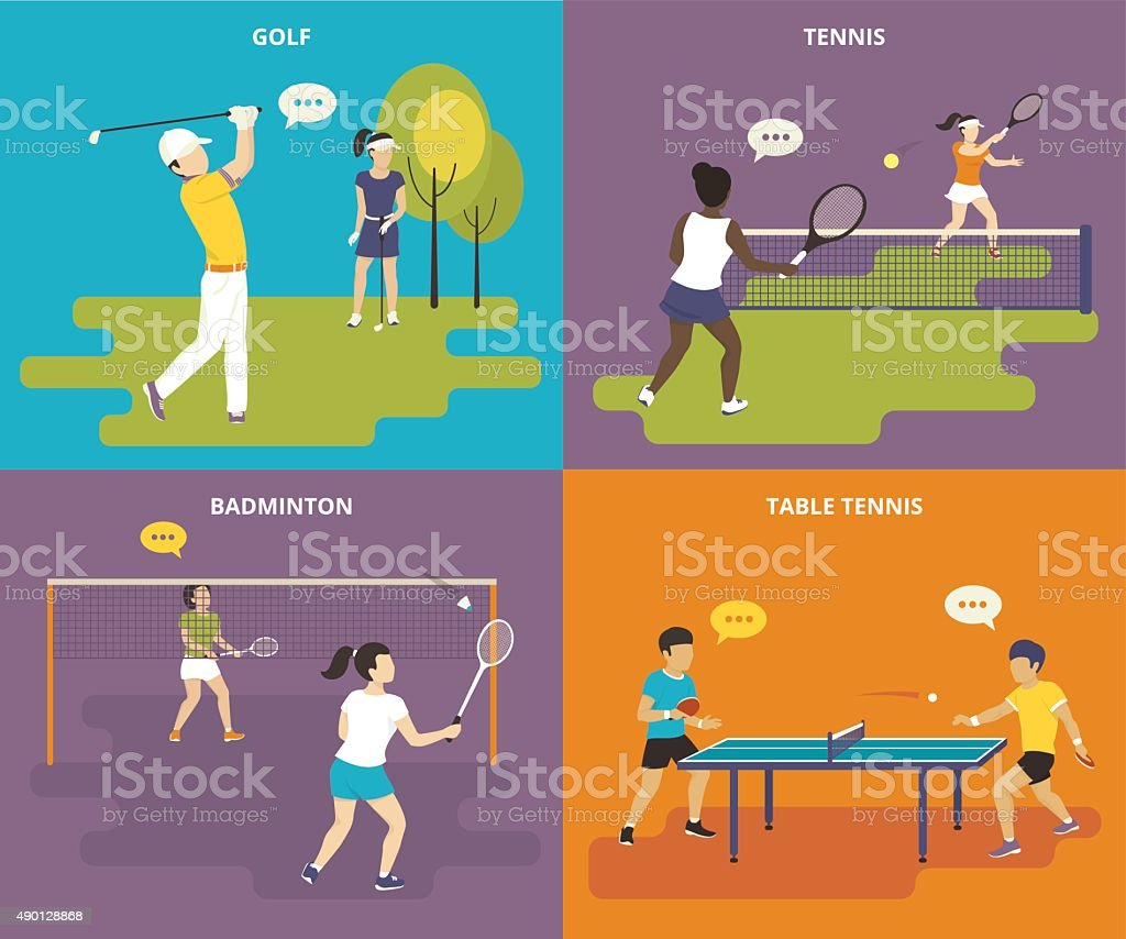 Flat sport icons set vector art illustration