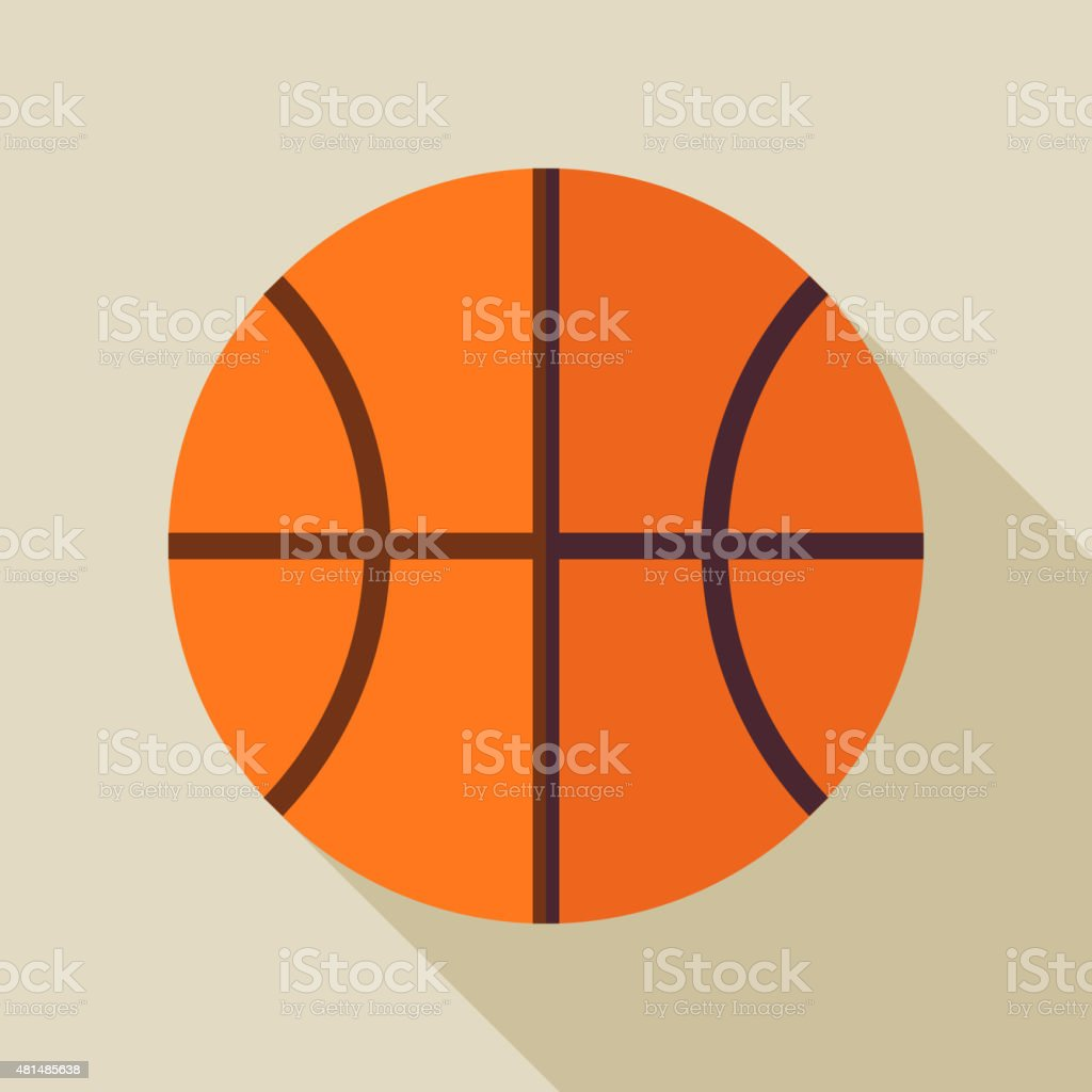 Flat Sports Ball Basketball. Back to School and Education Vector...