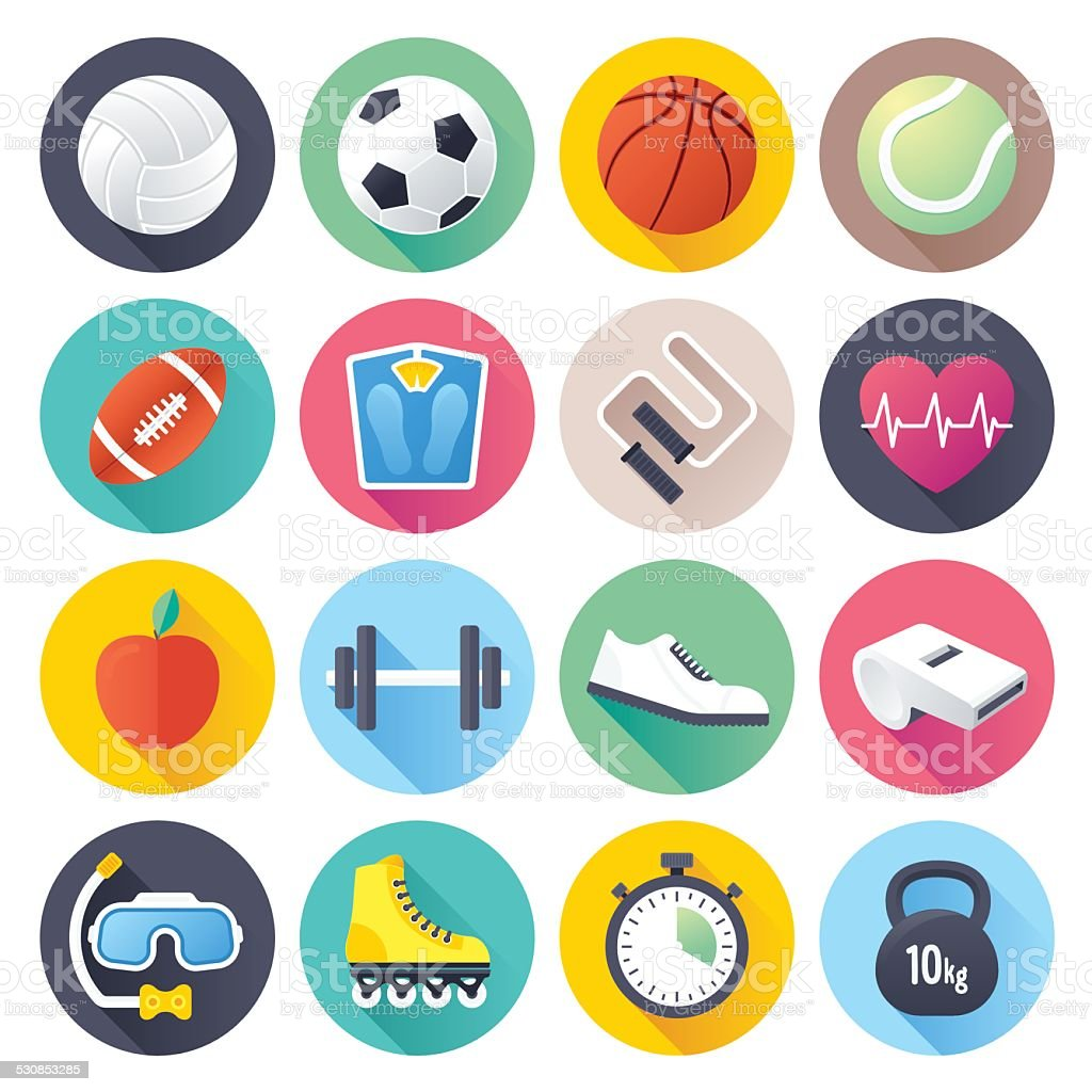Flat Sports Icons vector art illustration