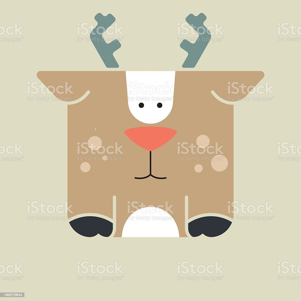 Flat square icon of a cute deer vector art illustration