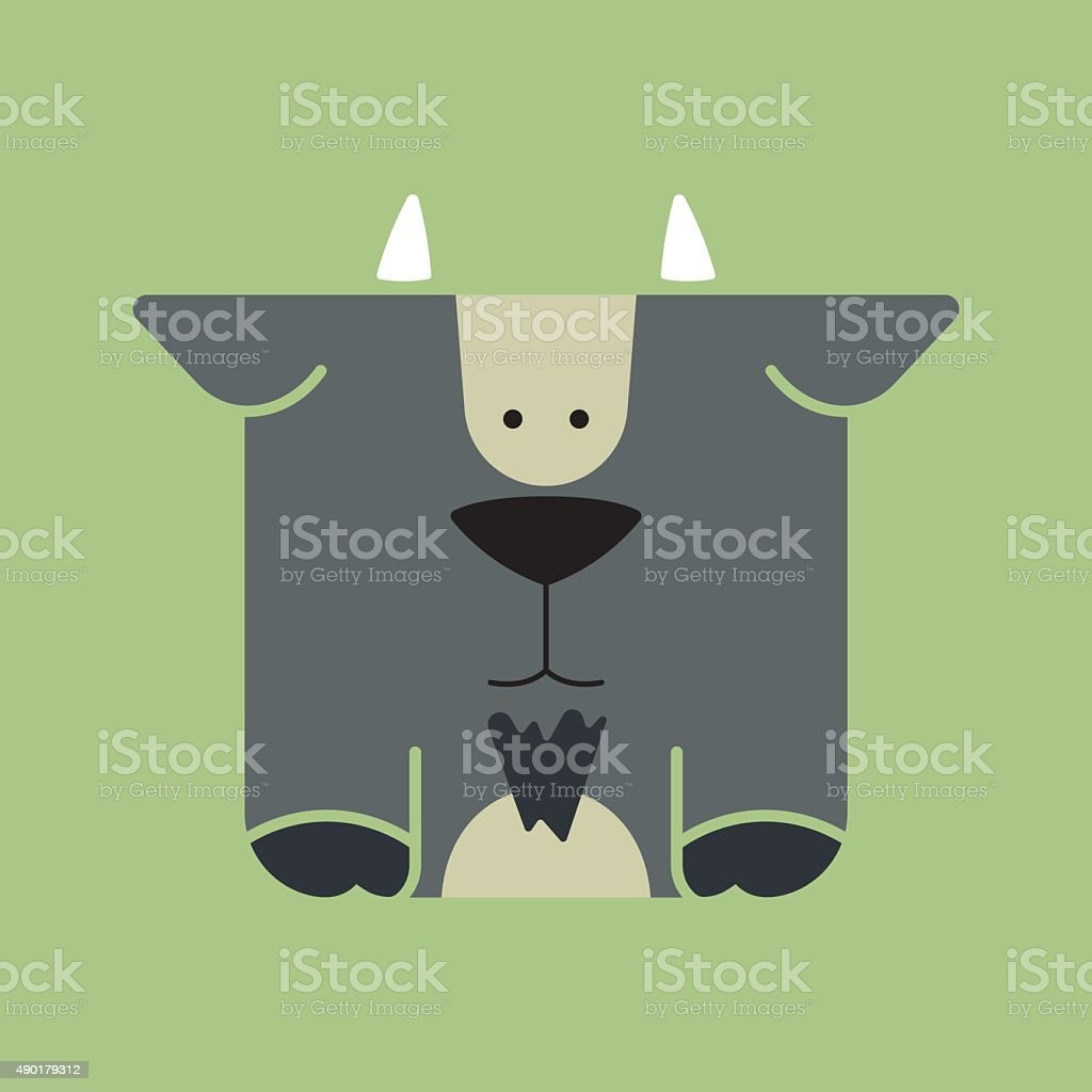 Flat square icon of a cute goat vector art illustration