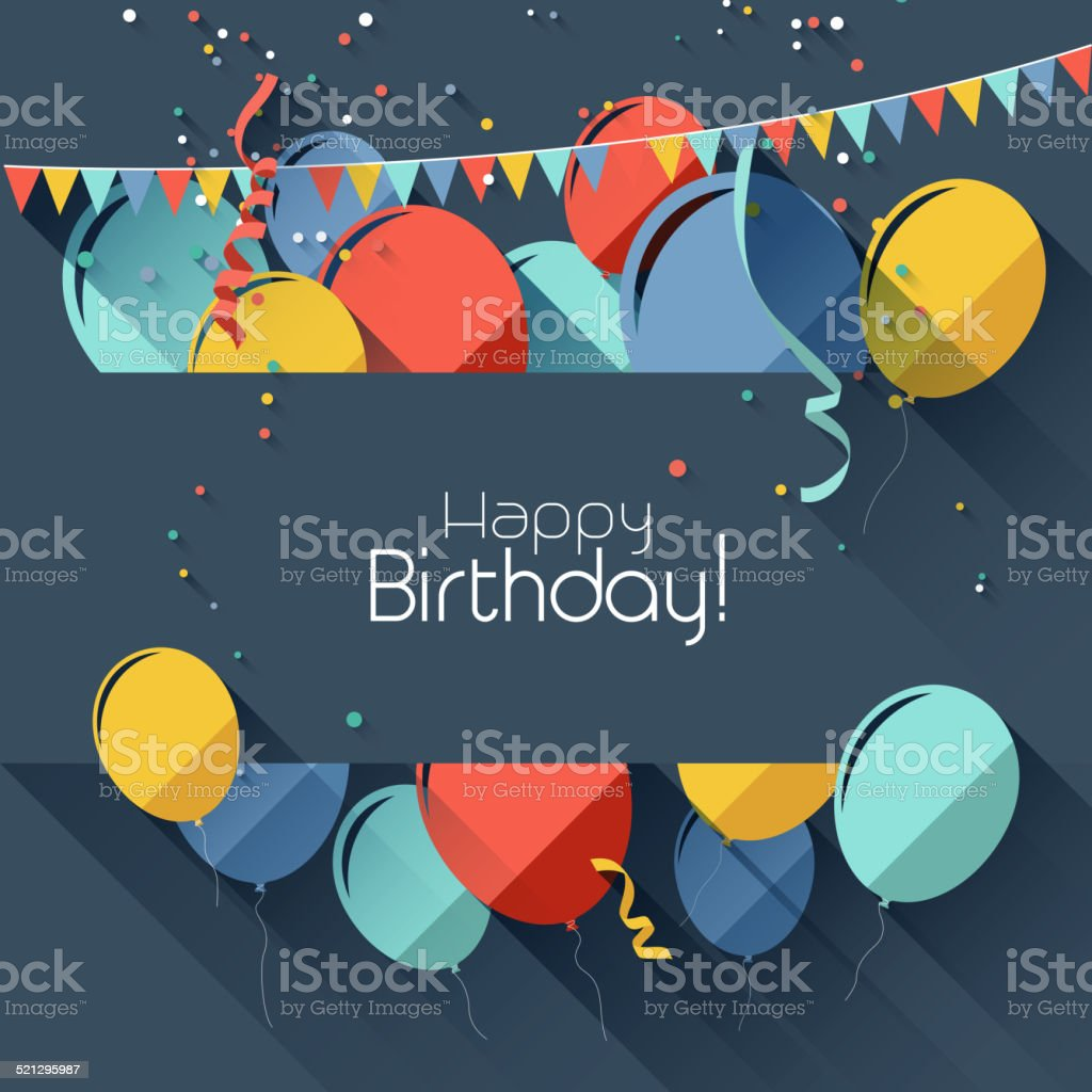 Flat style birthday background vector art illustration