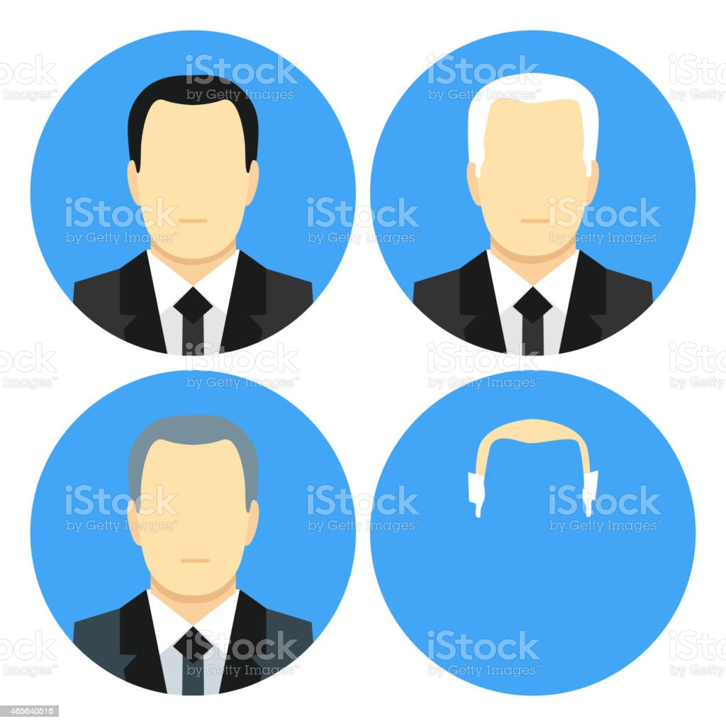 Flat style business men with four haircuts vector art illustration