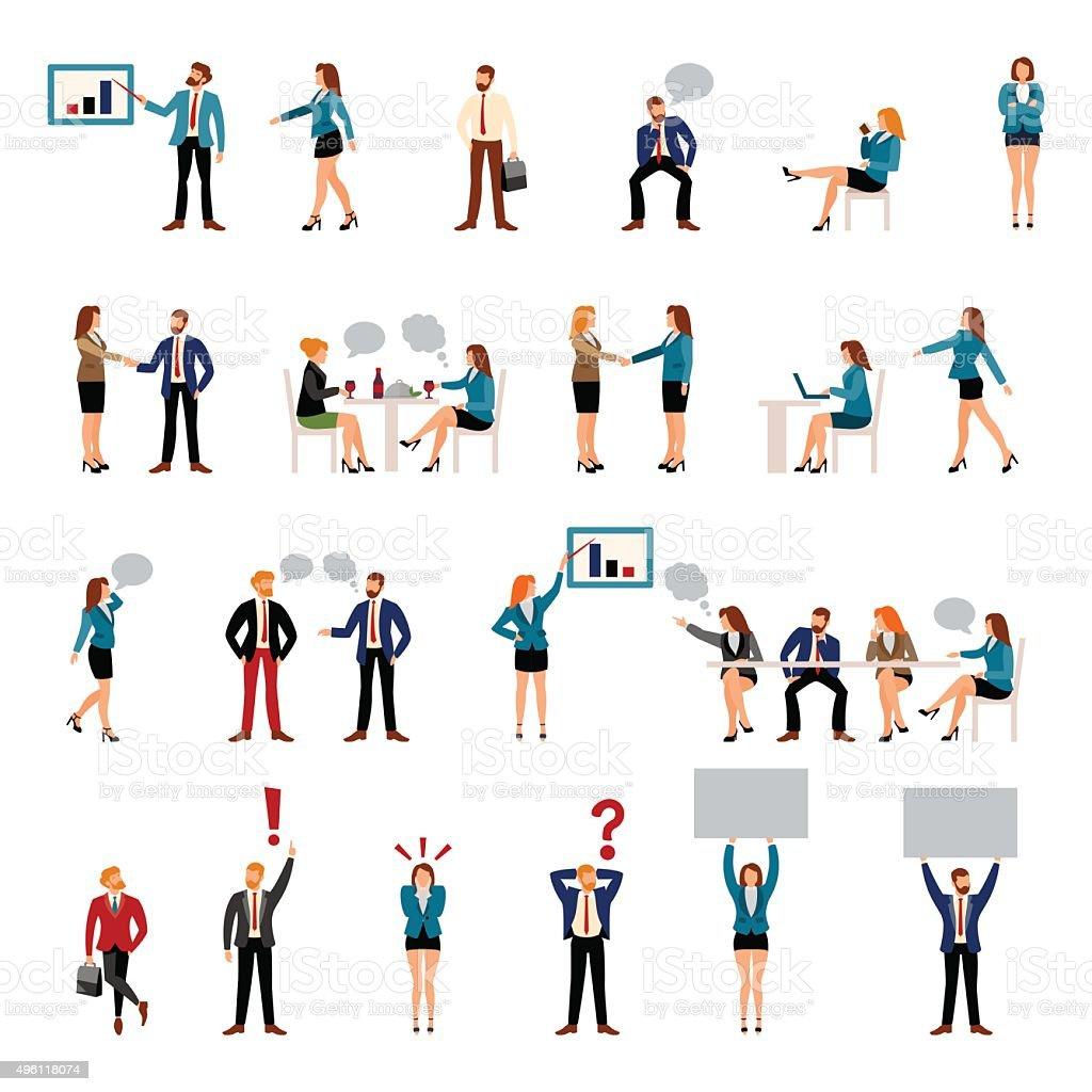Flat style business people figures icons vector art illustration