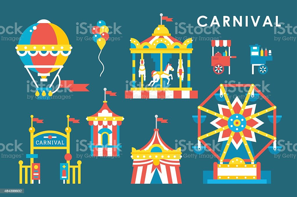 Flat style carnival infographic elements vector art illustration