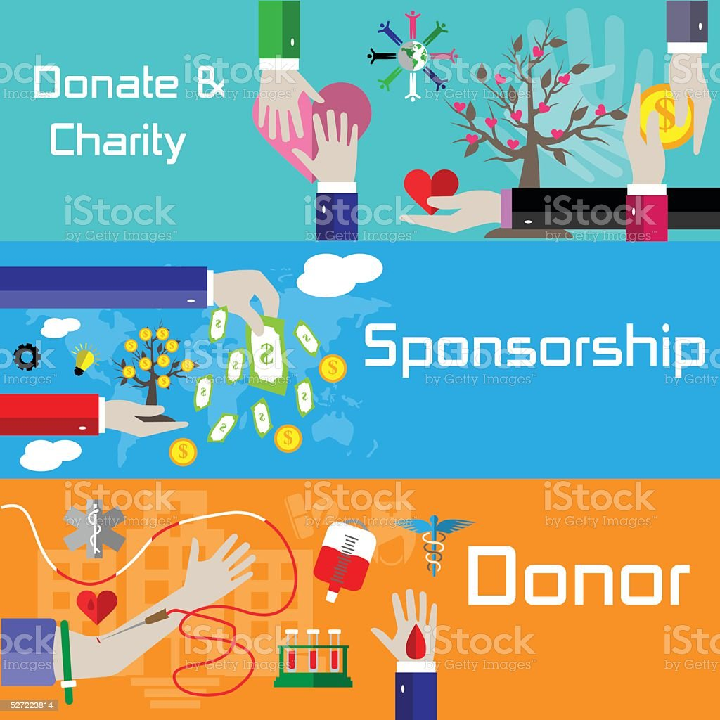 Flat style charity, sponsorship and donor banners vector art illustration