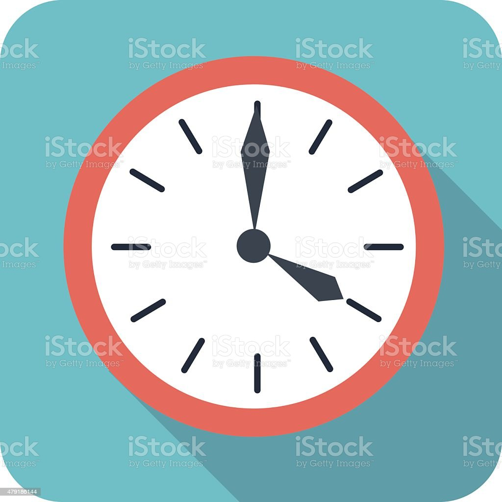 flat style clock icon in color vector art illustration