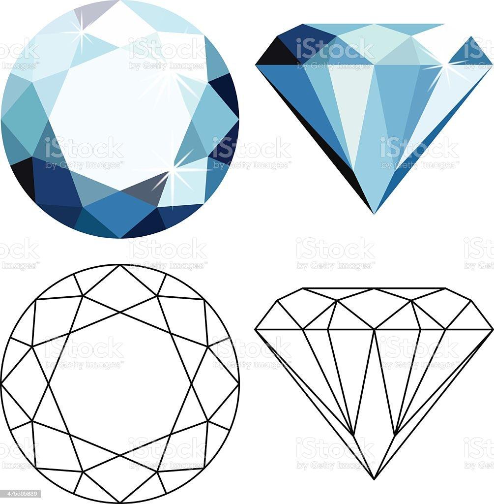 Flat style diamonds vector art illustration