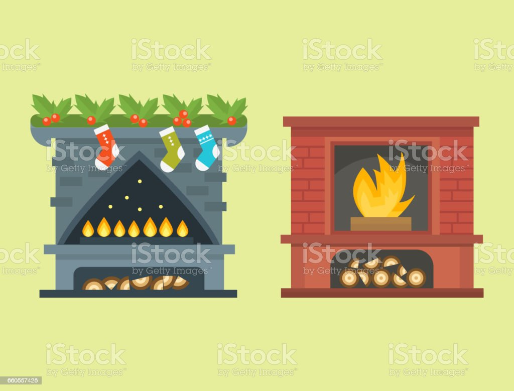 Flat style fireplace icon design house room warm christmas flame bright decoration coal furnace and comfortable warmth energy indoors vector illustration vector art illustration