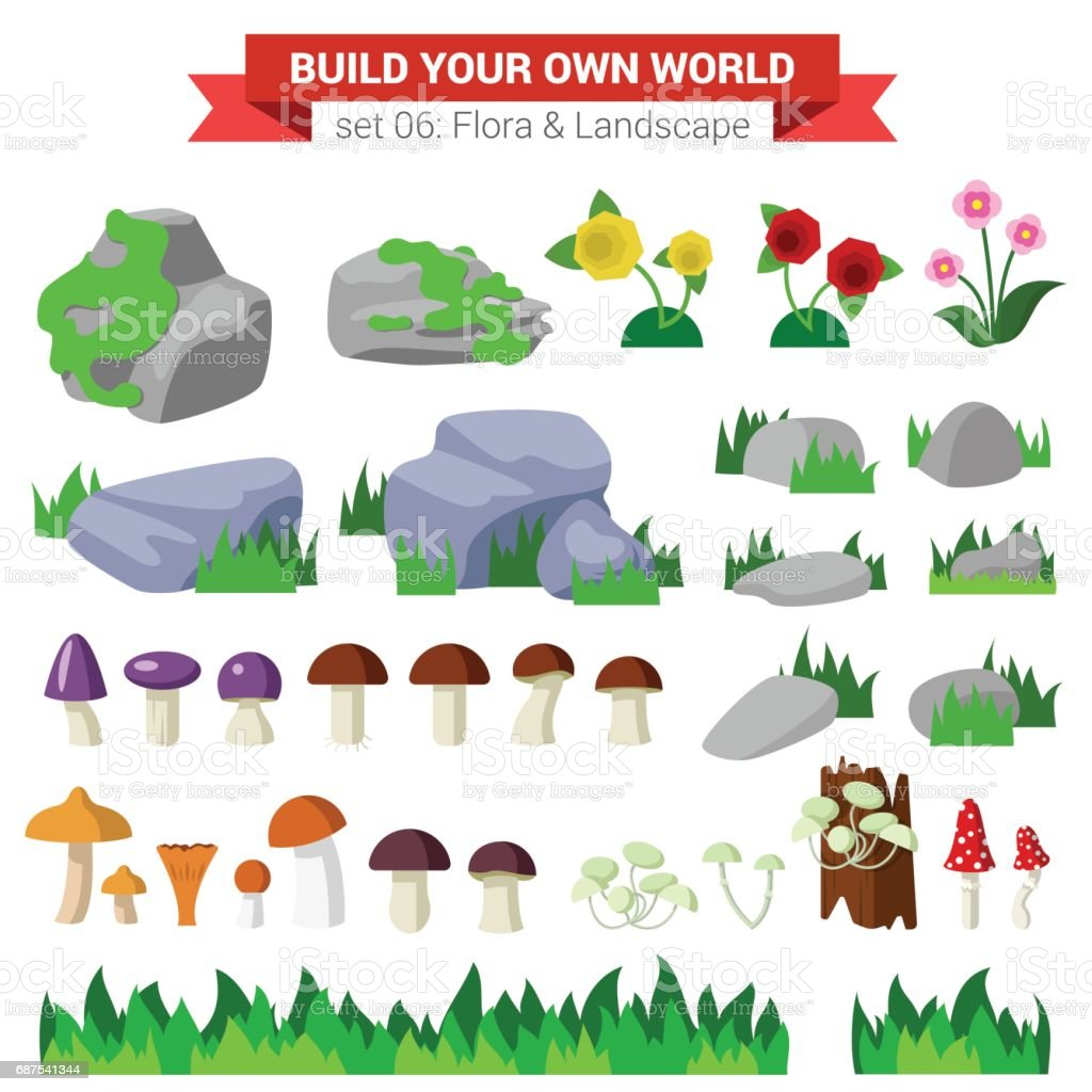 Flat style flora landscape environment stone flower mushroom moss bush grass nature objects icon set. Build your own world collection. vector art illustration