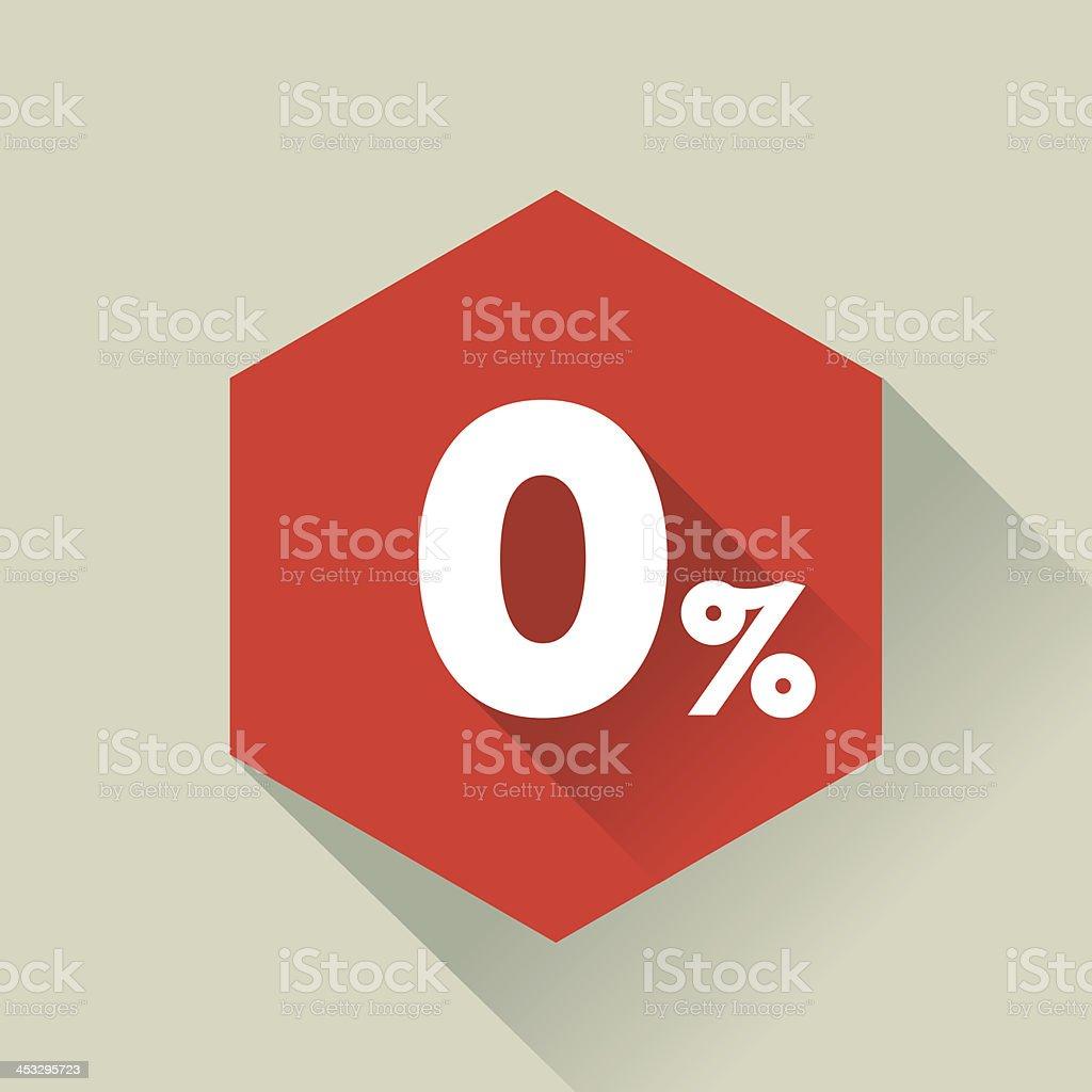 Flat style hexagon 0% button vector art illustration