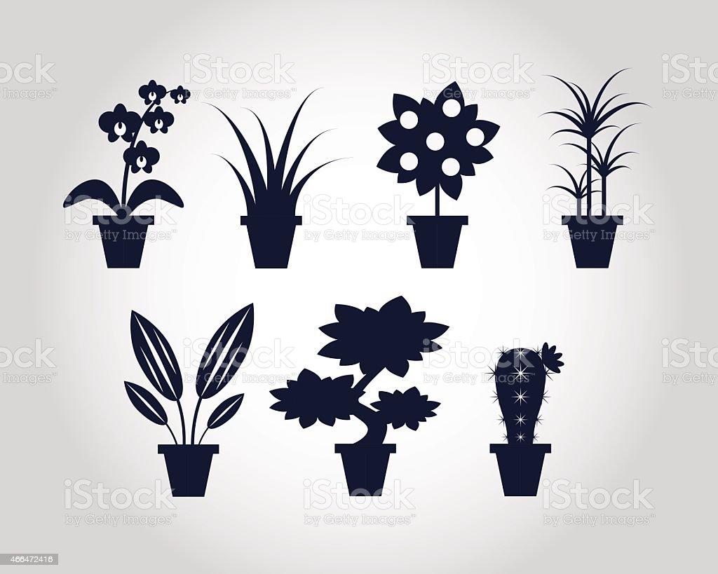 Flat style Houseplants vector art illustration