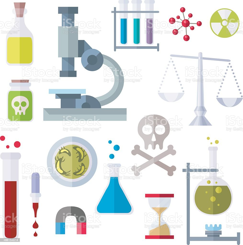 Flat Style Icons Chemistry Theme vector art illustration