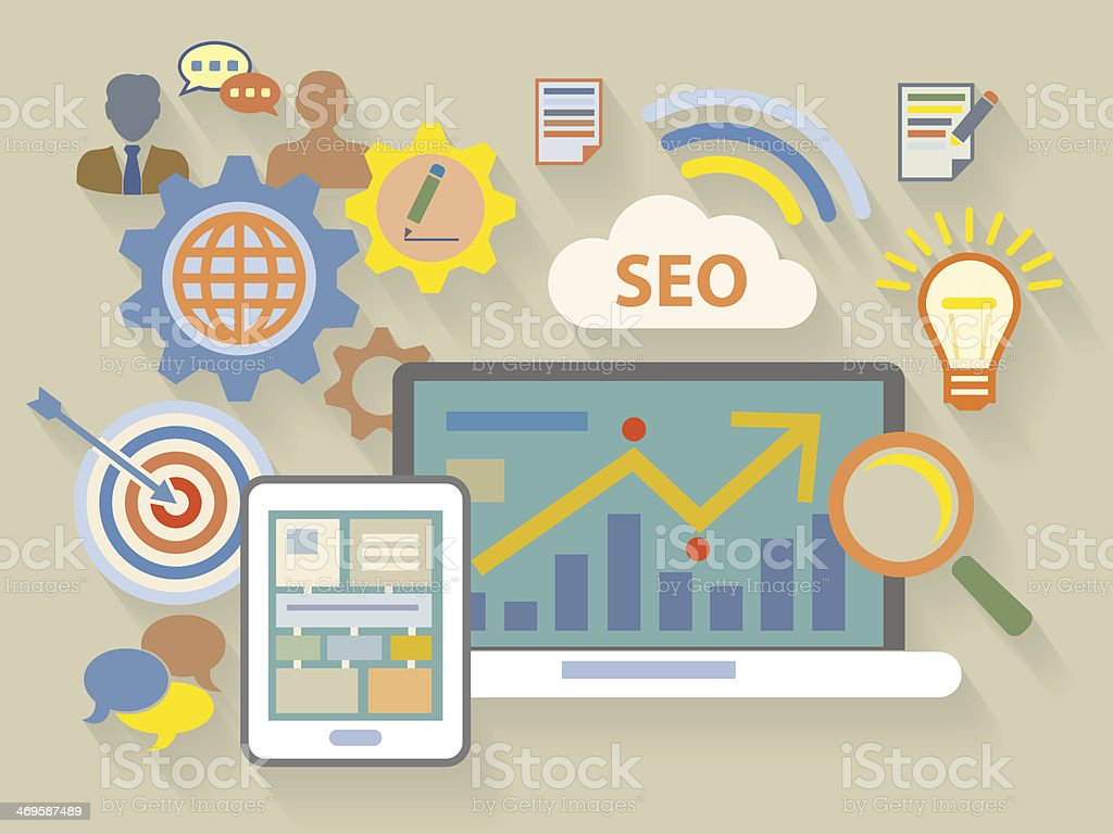 Flat style illustration of website analytics search information concept royalty-free stock vector art