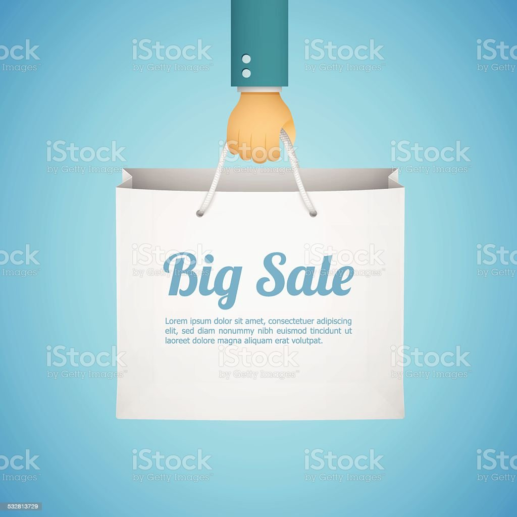 flat style illustration with hand holding paper bag vector art illustration