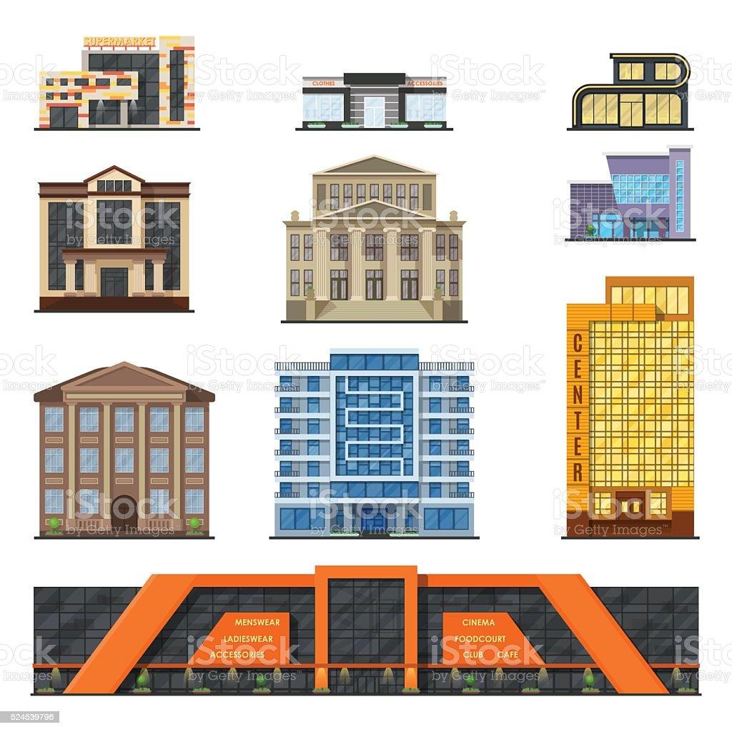 Flat style modern classic municipal buildings front, facade city design vector art illustration