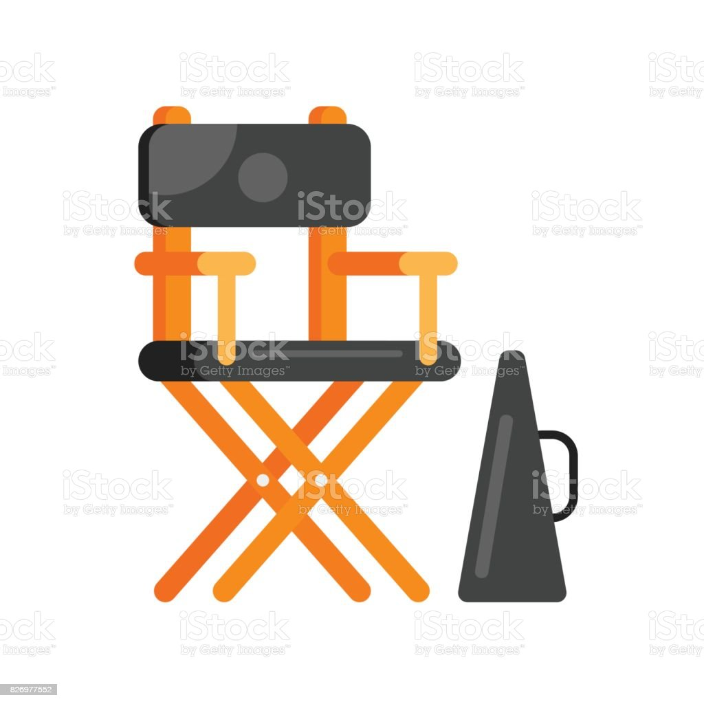 flat style movie directors chair. vector art illustration