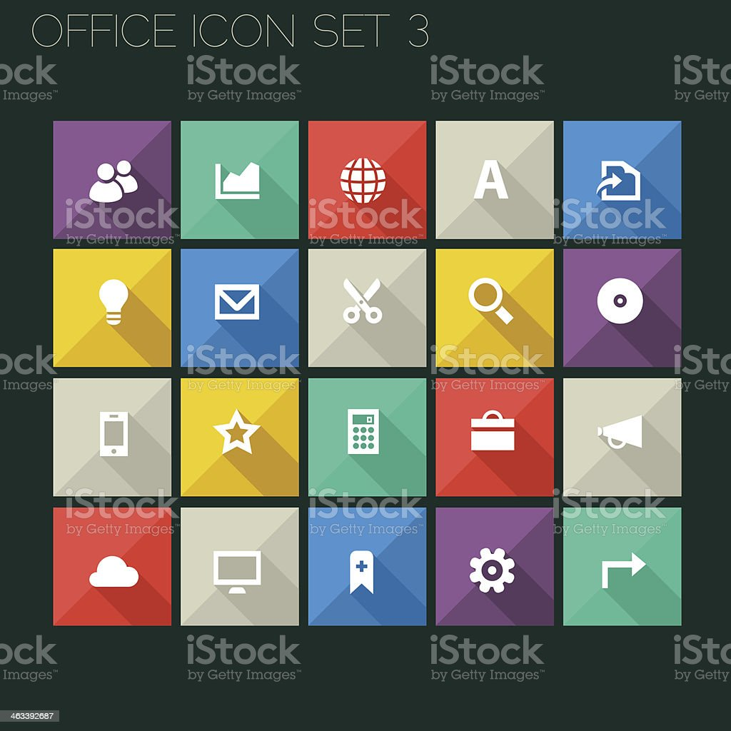 Flat style office icons, set 3 royalty-free stock vector art