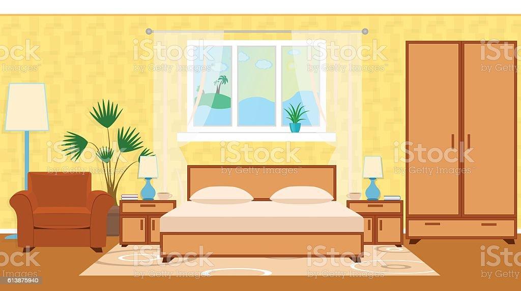 Flat style otel room interior with furniture, houseplant, ocean vector art illustration