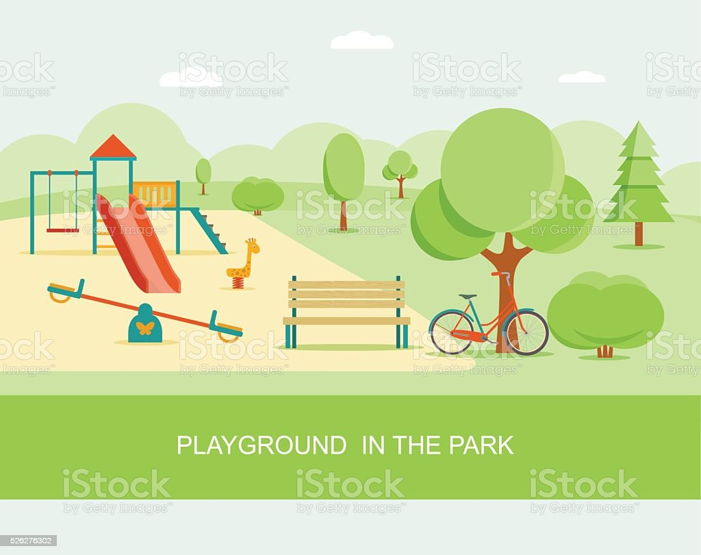 Flat style playground in park. Vector illustration. vector art illustration